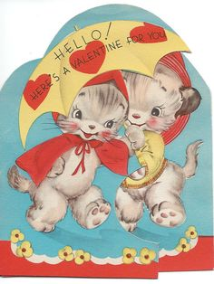 RESERVED FOR 1RR  Rainy Day Kittens Valentine by GatherAntiques, $3.00