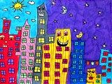 City scape in the style of James Rizzi