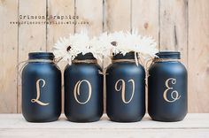 Painted Mason Jar Quart Wedding Centerpiece Bouquet Vase Home Decor Set of 4 - Gold LOVE + Black