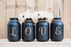 Painted Mason Jar Quart Wedding Centerpiece Bouquet Vase Home Decor Set of 4 - Gold LOVE + Black