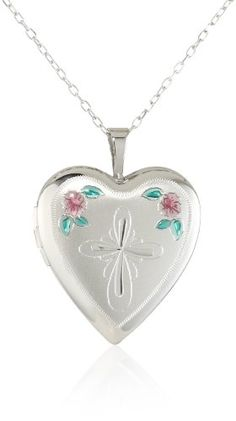 Momento Lockets Sterling Silver Heart Shaped Locket with Cross and Flowers Necklace