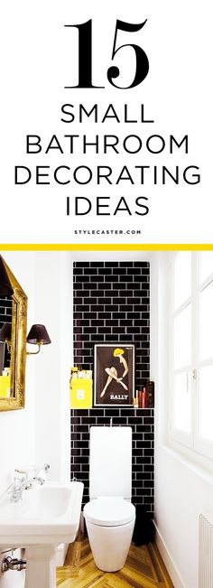 15 Gorgeous Small Bathroom Decorating Ideas | Clean white walls, black subway tiles, and bold pops of yellow make this small bathroom feel bright and modern