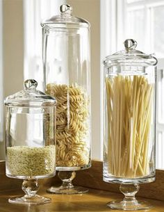 Italian food filled apothecary jars, or with with favorite candy, cookies ect, make it colorful! #jars #kitchen