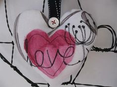 Freehand Machine Embroidered Valentine's Day Card £10.00