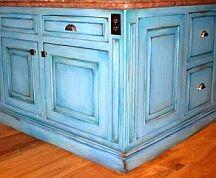 faux painting kitchen cabinet finish - glazing