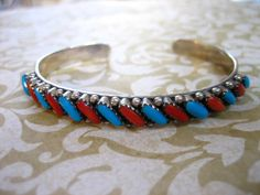 Vintage Sterling Silver Turquoise and Coral Cuff by charmingellie, $75.00