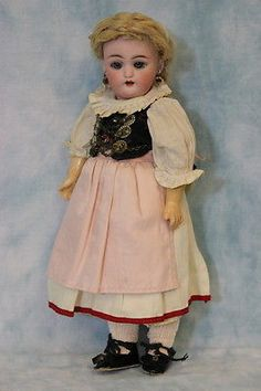 "11"" Antique German Bisque Doll 1079 by Simon & Halbig Orig. Ethnic Costume 1900"