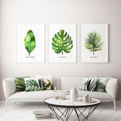 Palm leaf watercolor painting, Set of 3 botanical painting, Green leaf artwork This set of 3 palm leaf watercolor art will make an elegant collection for your living room or bedroom. They were painted by me, Tinarosa Tam. They are a reproduction of my original watercolor paintings. This