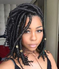Faux locs is a hairstyle similar to box braids whereas faux locs are intended to be a permanent extension of your hair. Faux locs are installed by twisting or braiding the real hair and then wrapping additional hair around the shaft of the braid. Faux Locs Hairstyles, My Hairstyle, Protective Hairstyles, Girl Hairstyles, Protective Styles, Black Hairstyles, Evening Hairstyles, Goddess Hairstyles, Hairstyles Videos