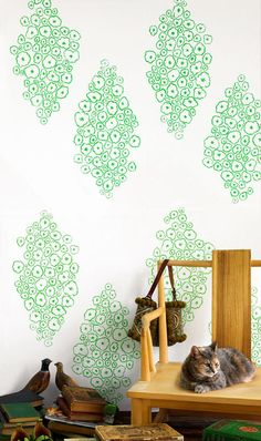 Soft, green geometric pattern designed by Karen Combs of Nama Rococo. (Oh, and look at the cat!) #wallpaper #vintage