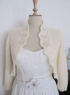 Bride Boleros Bridal Jacket Cardigan  3/4 sleeve Wedding  Shawl Wrap Capelet Ivory. $85.00, via Etsy. Crochetbutterfly