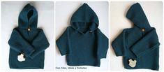 Con hilos, lanas y botones: DIY jersey con capucha para bebé paso a paso (patrón gratis) Baby Kimono, Baby Vest, Baby Knitting Patterns, Gloves, Pullover, Crochet, Sweaters, Diy, Fashion