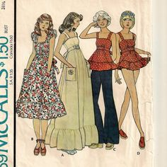 McCall's 4469, An Empire High Waist, Back Tie, Ruffled Hemline Top, Midi or Maxi Dress and Panties Pattern by So Sew Some!