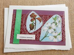 Flowering Dogwood  handmade sewn card by bluestemhandmade on Etsy, $4.50