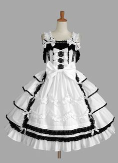 Black and White Sleeveless Sweet Lolita Dress