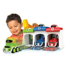 """Get ready, smash 'em, go! The Whack 'Em Racers by Tomy features colorful characters and race cars, a fun garage, and soft toy hammer. Little ones will giggle with delight as they """"smash"""" the characters through holes to launch the cars from the garage. Toddler Boy Toys, Kids Toys For Boys, Best Kids Toys, Baby Toys, Matchbox Car Storage, Electronic Toys, Hot Wheels Cars, Toy Trucks, Baby Play"""