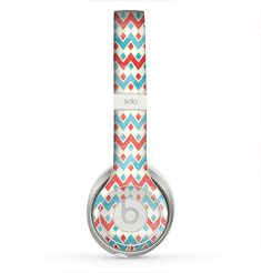 The Vintage Red & Blue Chevron Pattern Skin for the Beats by Dre Solo 2 Headphones