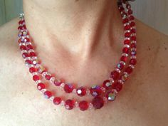 Red glass bead necklaces, vintage Red glass necklace, red glass beads necklace, red glass beaded necklace, vintage red glass necklaces, by DuckCedar on Etsy