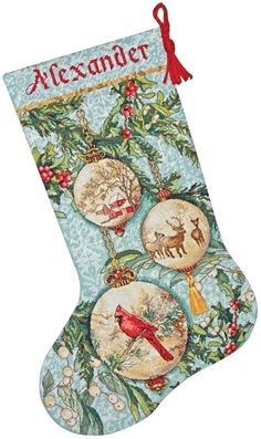 Gold Collection Enchanted Ornament Stocking Counted Cross Stitch - Overstock™ Shopping - Big Discounts on Dimensions Cross Stitch Kits Cross Stitch Christmas Stockings, Cross Stitch Stocking, Christmas Stocking Kits, Christmas Cross, Xmas Stockings, Christmas Ideas, Stocking Ideas, Christmas Patterns, Christmas Decor