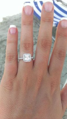 Princess Cut Halo Engagement Ring - this is perfect! The diamond is princess cut, but the halo is a rounded square. Princess Cut Rings, Princess Cut Engagement Rings, Halo Diamond Engagement Ring, Princess Cut Diamonds, Wedding Engagement, Solitaire Rings, Diamond Rings, Princess Wedding, Halo Rings