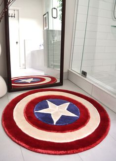 Captain America Rug- this is freaking awesome! It would be perfect finish to Tyler's room but it's $80!!!!