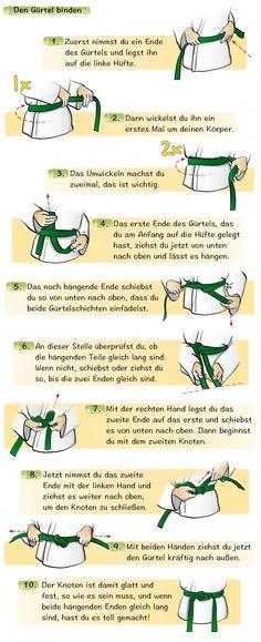 """Den Gürtel binden aus dem Kinder-Karatebuch """"Mein erstes Karate-Buch"""""""