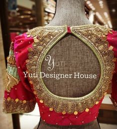 All the Brides Out there! Get your Blouses Designes embroidered and stitched in Just - Only at YUTI.A Pink blouse with coin work by YUTI.For Orders and Queries reach at or Whatsapp: 28 Moosa Street TNagar. Blouse Back Neck Designs, New Blouse Designs, Silk Saree Blouse Designs, Stylish Blouse Design, Bridal Blouse Designs, Blouse Neck Designs, Maggam Works, Siri, Work Blouse