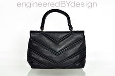 Vintage Black Leather Handbag by engineeredBYdesign on Etsy, $35.00