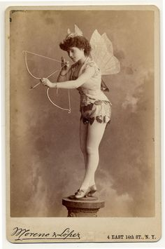 Victorian cupid postcard ~ Exotic Dancers, 1890s
