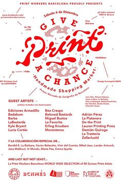 give print a chance at print workers barcelona! Screen Printing Process, Bullet Journal, Free, Facebook, Timeline, Day Planners