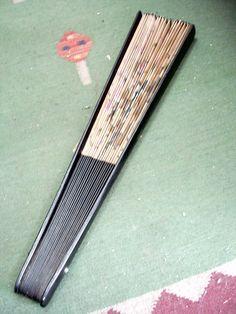 leque japonês em bambu papel pássaros pintados mão assinado