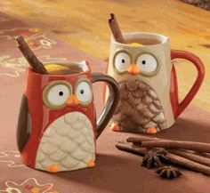 What a hoot! These owl mugs are perfect for enjoying a warm fall Mr. Coffee® Café Latte! #FallDrinks, #Mugs, #Owls
