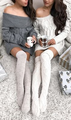 Off Shoulder Knit Dress + Wool Socks