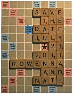 Scrabble save the date---with number tiles. are there versions of scrabble with numbers? Diy Wedding Projects, Diy Projects, Wedding Stationery, Wedding Invitations, Invites, Scrabble Wedding, Teacher Wedding, Purple Themes, Wedding Games
