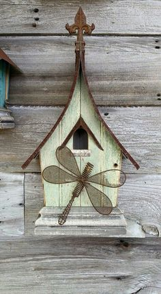 Wall hanger birdhouse, 1930 beadboard.