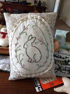 This is a newly handmade, hand embroidered decorator Primitive Bunny pillow. It has not been stained or grubbied as most other items in my store. It comes from a smoke free and pet free home. Item will ship on next business day after payment is received. Returns are excepted only