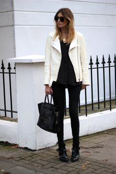 How To Wear White After Labor Day | white leather jacket over all black outfit http://effortlesstyle.com/wear-white-after-labor-day/