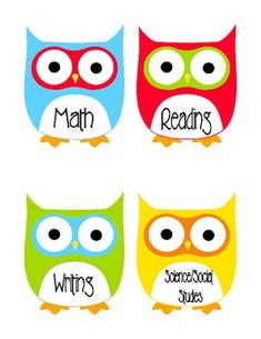 This is a one page document with four owls. Each owl has a subject listed - math, reading, writing and science/social studies. Print on cardstock a...