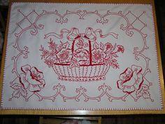 Flower Basket, Blackwork, Fiber Art, Embroidery, Flowers, Crafts, Stuff To Buy, Tablecloths, Vintage