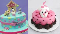"""As featured in """"Puppy Dog Cakes for Dog Lovers"""" on Cake Geek Magazine. (Cake, left by Made By Gayle Cakes and right, by Cheio de Recheio). For more, see: http://cakegeek.co.uk/index.php/puppy-dog-cakes/"""
