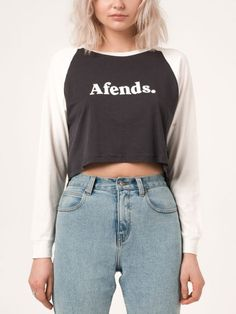 Cheers Crop Raglan Long Sleeve T-Shirt for women by Afends