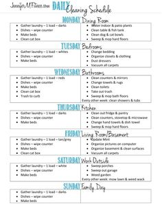 daily cleaning schedule - need to rearrange some days