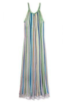 The maxi dress of our dreams is long and flowy, with a hint of shine and a retro splash of color. Missoni dress, $2,580, shopBAZAAR.com.