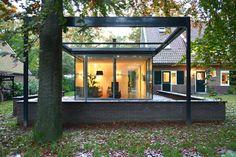 Wil Bongers Architectuur - Projecten - Aanbouw Uitbouw Tuinkamer glas staalhout