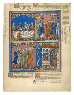 Hospitality; Reprehensible Demands; Gibeah's Crime; Death of the Levite's Wife | Fol. 16r | The Morgan Library & Museum  Maciejowski Bible double veil?