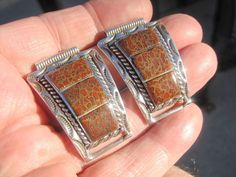 Beautiful Sterling Silver Watch Tips Set w Fossilized Red Brown DINOSAUR BONE  #Artisan