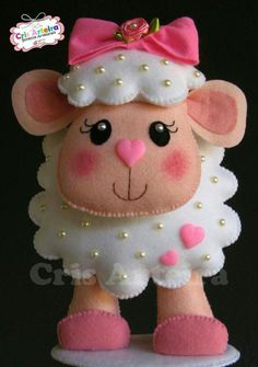 Sheep w/Bow on Head Wearing Shoes Cutest Felt Toys you will simply adore - Unique Crafts Cute little felt sheep embelished with pearl beads. Cute lamb made from felt Easter Crafts, Felt Crafts, Diy And Crafts, Crafts For Kids, Felt Christmas Ornaments, Christmas Crafts, Sewing Crafts, Sewing Projects, Felt Baby