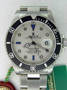 50d60538e7e Rolex Submariner Stainless Steel Silver Diamonds  amp  Sapphires Dial    Black Insert  Rolex Audemars