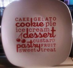 Cookie Plate - Dollar store plate,red vinyl Cricut Cartridge Word Collage masking tape