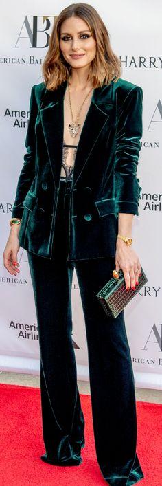 Who made Olivia Palermo's green velvet pant suit? Velvet Suit, Velvet Blazer, Velvet Pants, Green Velvet Jacket, Green Velvet Dress, Olivia Palermo Style, Olivia Palermo Wedding, Fashion Dictionary, Velvet Fashion